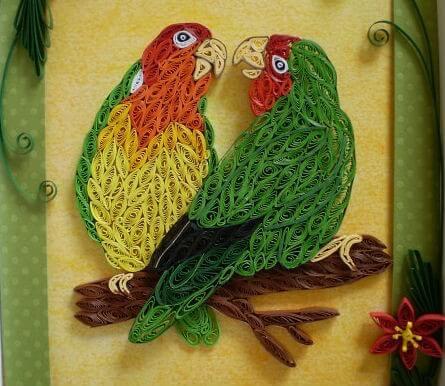 Пример квиллинг попугаев