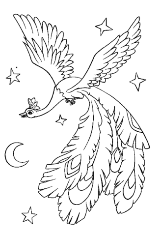 Схема шаблон ночная Жар птица