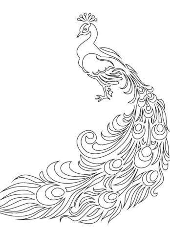 Схема шаблон бумажного павлина