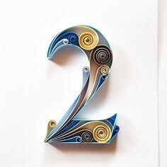 Цифра 2 в стиле технике квиллинга