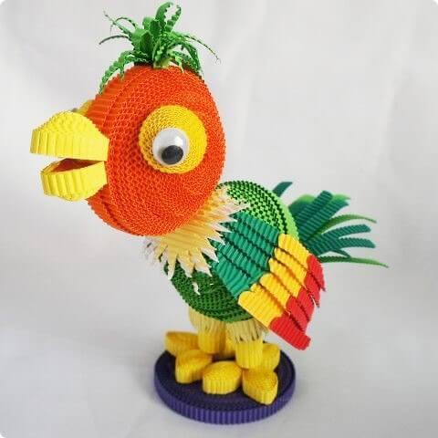 Поделка с квиллинг попугаем