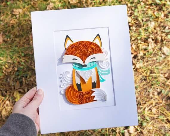Пример готовой квиллинг поделки с лисичкой