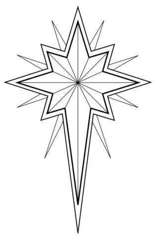 Схема шаблон бумажной звезды