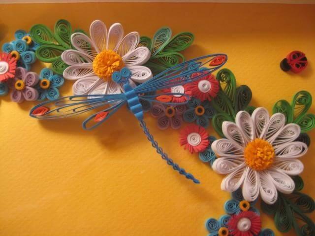 Квиллинг цветы и стрекоза