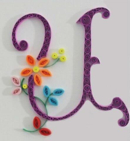 Готовая квиллинг буква Ц русского алфавита