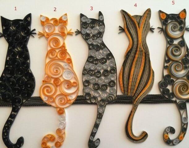 5 кошек в технике квиллинг
