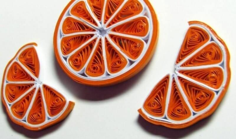 Готовые апельсины в технике квиллинг