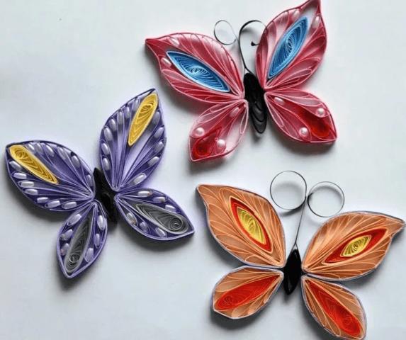 Готовые бабочки в технике квиллинг
