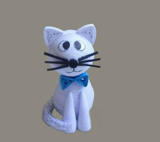 Готовый объемный квиллинг котик