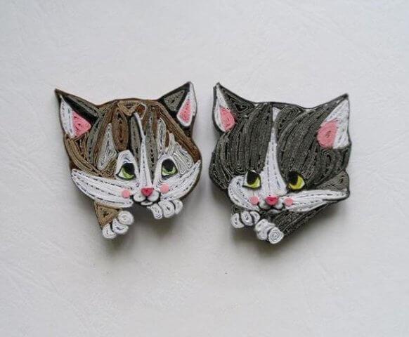 Готовые котята в технике квиллинг