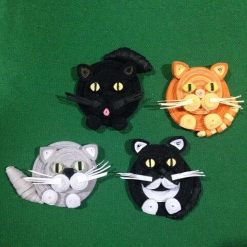 Коты-магнитики в технике квиллинг