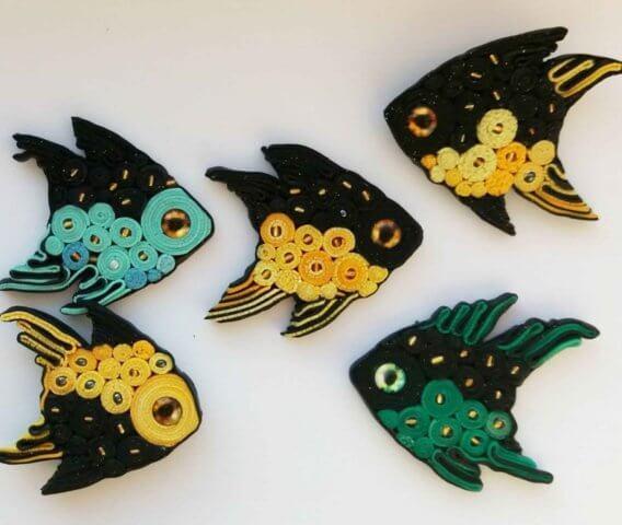 Готовые рыбки в технике квиллинг