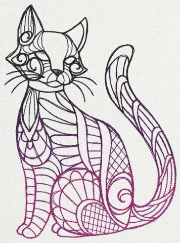 Схема шаблон бумажной кошки для мастеров