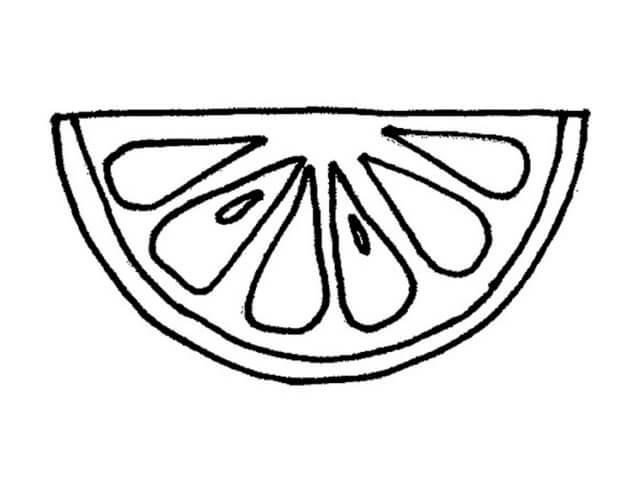 Схема шаблон бумажной дольки лимона