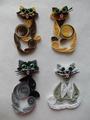 Пример готовых котов в технике квиллинг