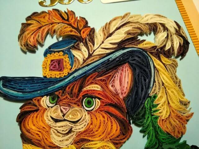 Пример готового квиллинг кота из мультфильма