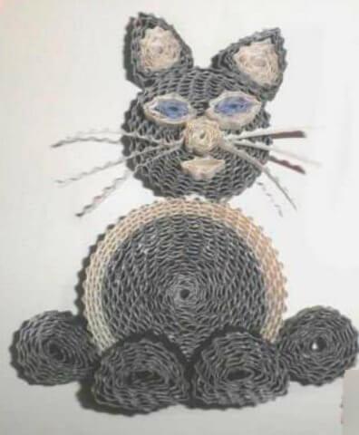 Пример готового кота в технике квиллинг