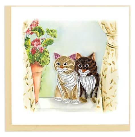 Пример влюбленных котиков в технике квиллинг