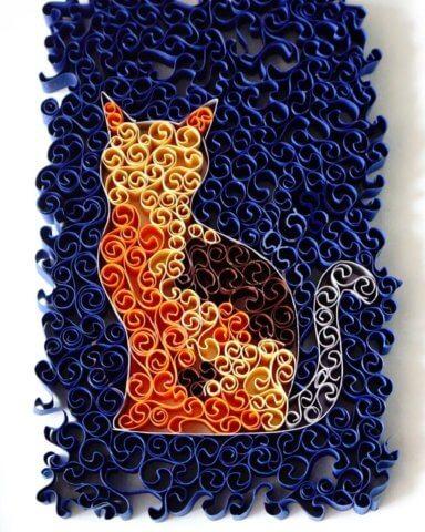 Пример готового рыжего квиллинг кота