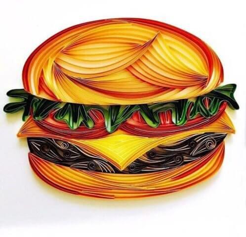 Бургер в стиле квиллинг