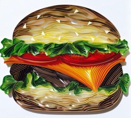 Готовый пример бургера в технике квиллинг