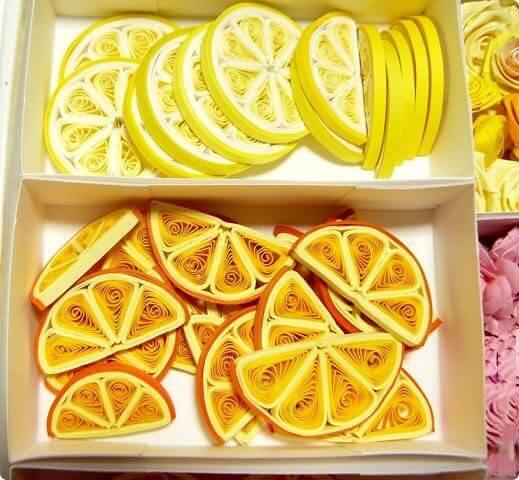 Дольки фруктов в технике квиллинг