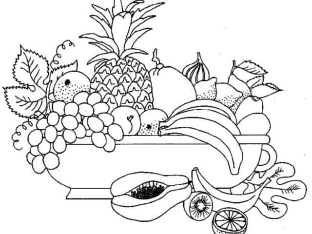 Схема шаблон бумажного блюда с фруктами в технике квиллинга