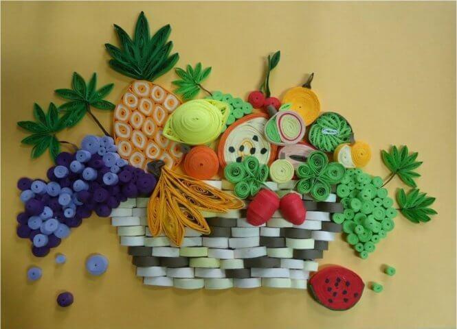 Пример готовой корзины со фруктами в стиле квиллинг