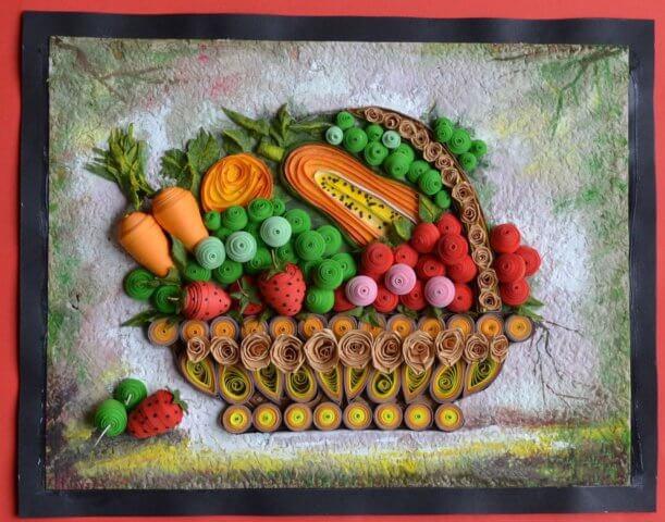 Корзина со фруктами и овощами в стиле квиллинг