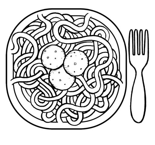 Схема шаблон бумажного блюда макароны с фрикадельками в технике квиллинга