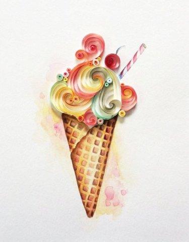 Мороженое в стиле квиллинг