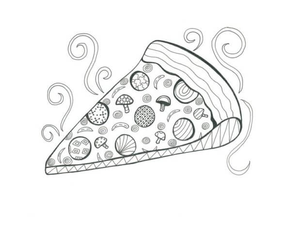 Схема шаблон бумажного ломтика пиццы в технике квиллинга