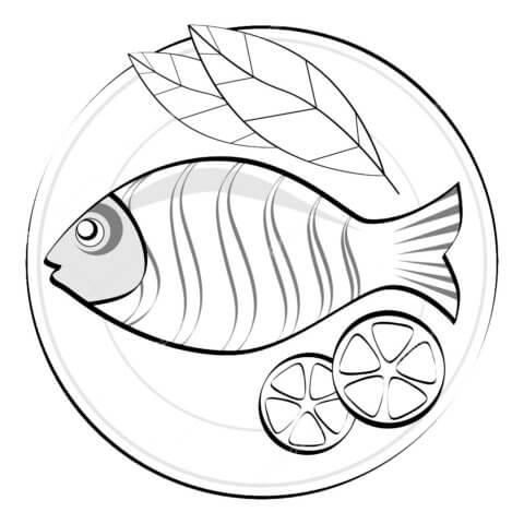 Схема шаблон бумажного блюда с рыбой в технике квиллинга