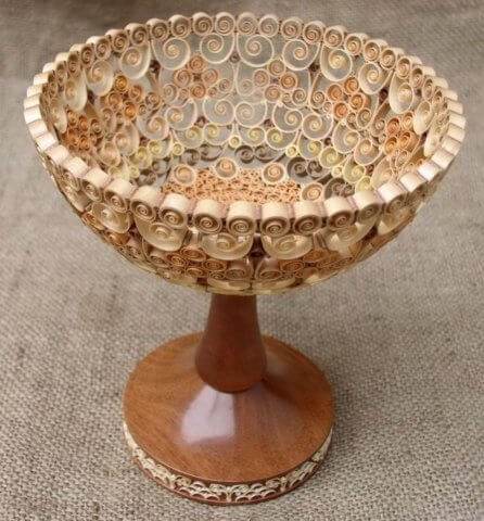 Квиллинг ваза из дерева