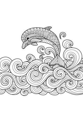 Схема для распечатки в виде дельфина