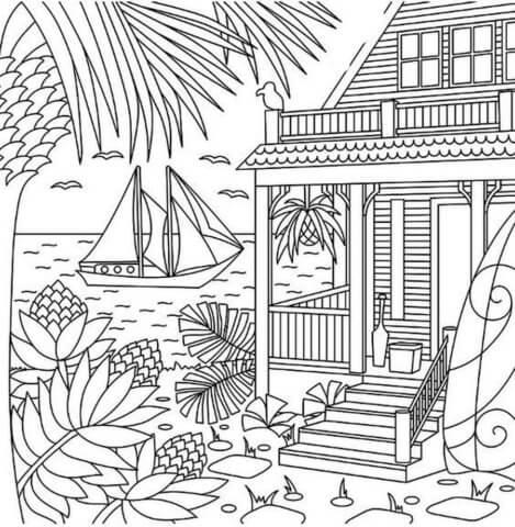 Схема для распечатки в виде домика у моря