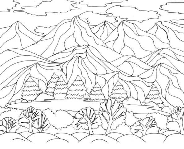 Схема для распечатки в виде гор
