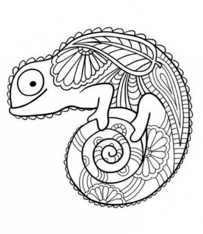 Схема для распечатки в виде хамелеона