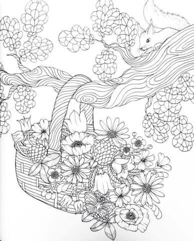 Схема для распечатки в виде корзинки с цветами