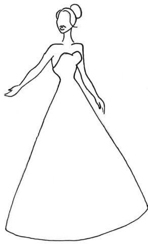 Схема для распечатки в виде невесты