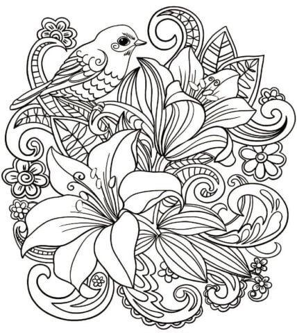 Схема для распечатки в виде птички с цветочками