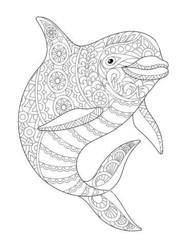 Схема для распечатки в виде дельфинчика