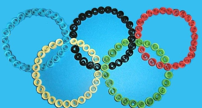 Символика олимпиады в технике квиллинг