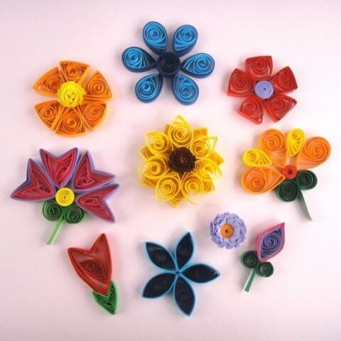 Цветочки в технике квиллинг