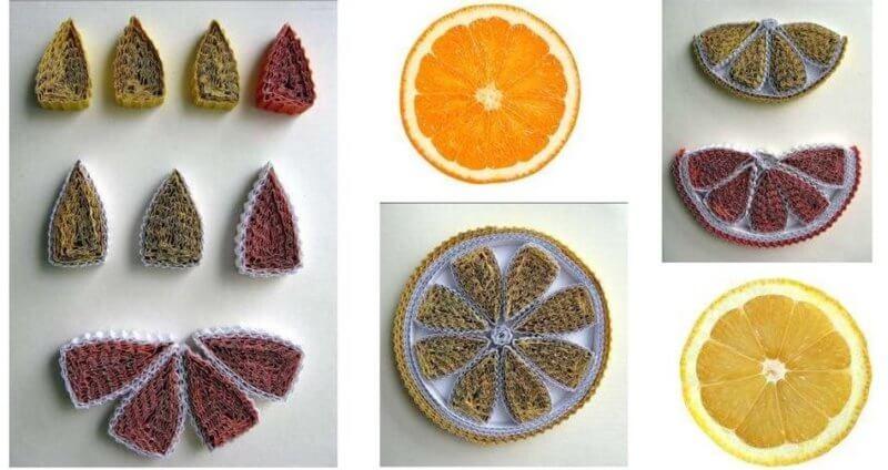 Дольки апельсина в технике квиллинг