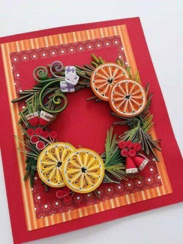 Рождественская открытка в технике квиллинг