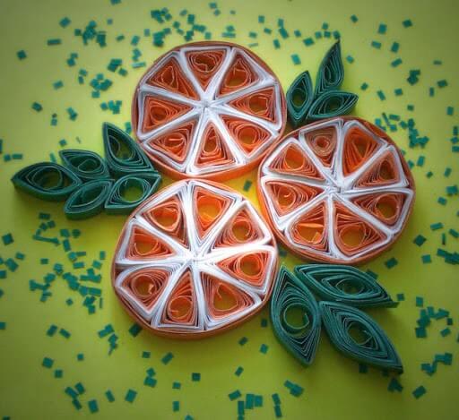 Дольки апельсинов в технике квиллинг