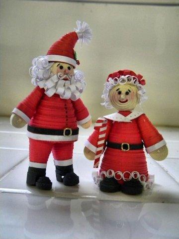 Дед Мороз и Снегурочка в технике квиллинг