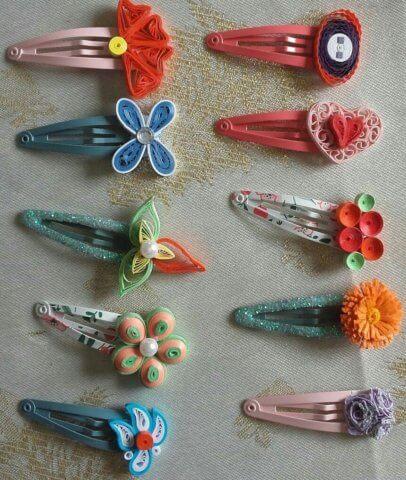 Примеры заколок с разными квиллинг украшениями