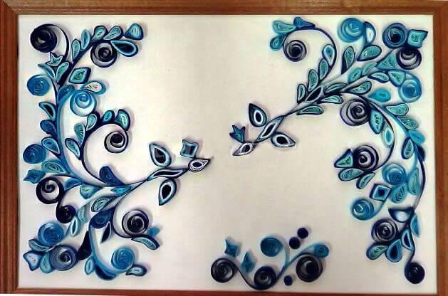 Готовая квиллинг работа по мотивам гжельской росписи